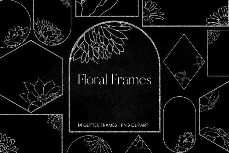Silver Glitter Floral Frames Clipart