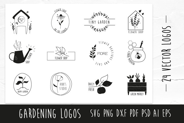 24 Natural, Floral, Gardening Logos. SVG, PNG.