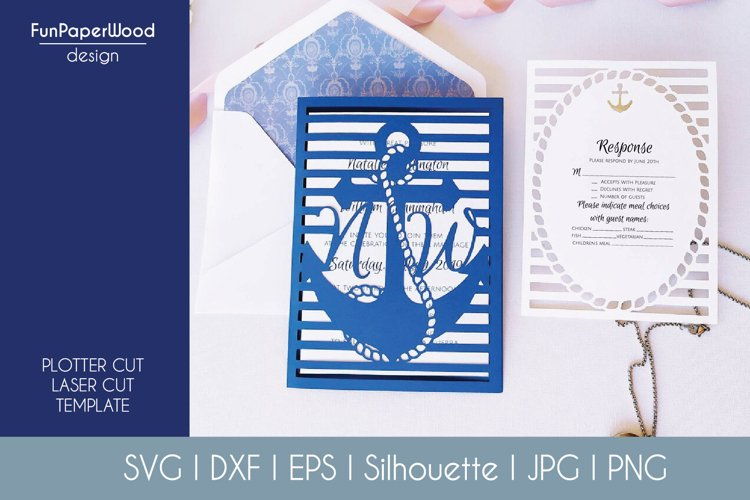 Anchor Pocket Invitation A7 5x7 Svg Dxf Eps Silhouette Cameo example image 1