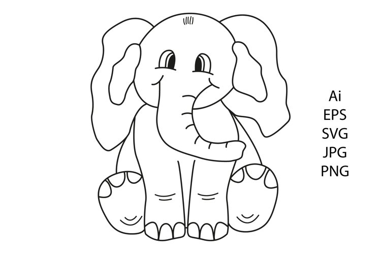 Elephant outline. Coloring page. Cute line animal.