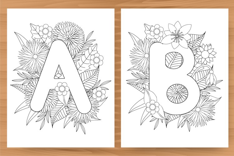 Alphabet. A-Z. 26 Floral coloring pages. PDF and JPG.