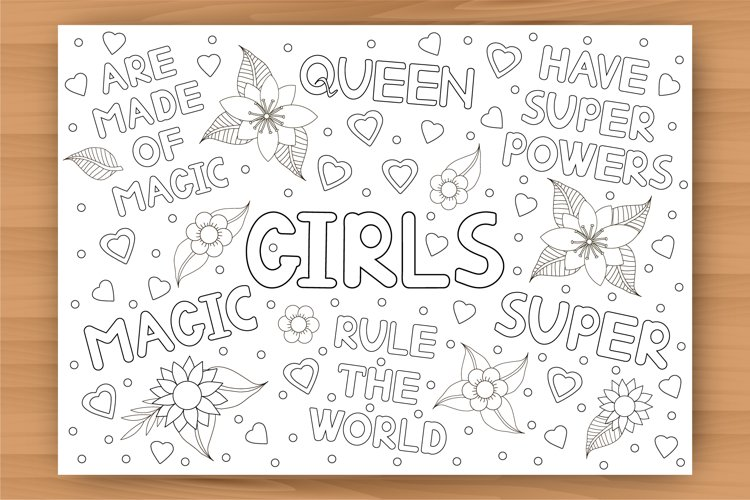 Girls coloring page, big coloring poster, size A1 and A4