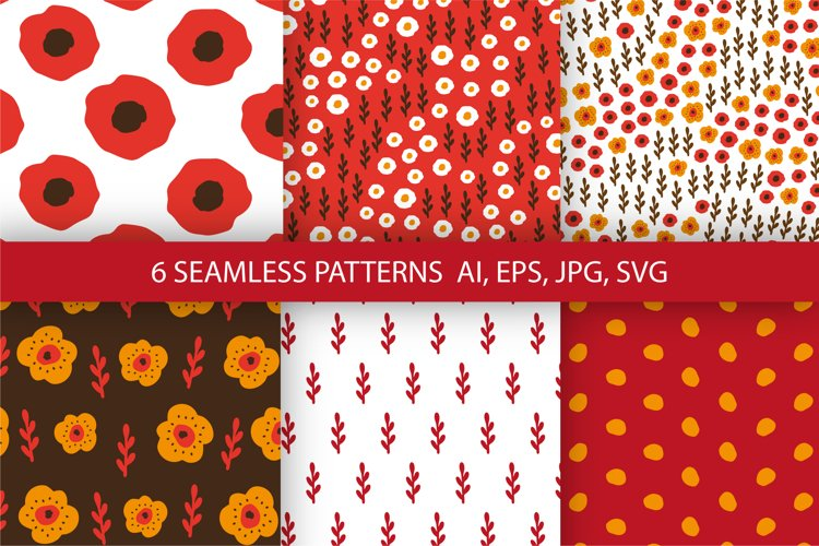 Flowers digital papers. 6 floral seamless patterns. example image 1