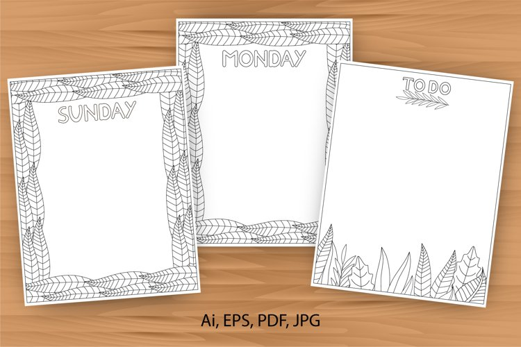 Daily planner, 10 coloring planner pages example image 1
