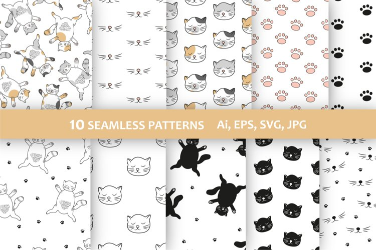 Cat seamless patterns - 10 digital papers - 12 x 12 inches