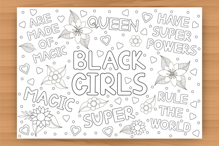Black Girls coloring page, coloring poster
