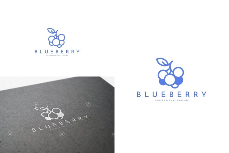 Blueberry Logo Template | Outline Style