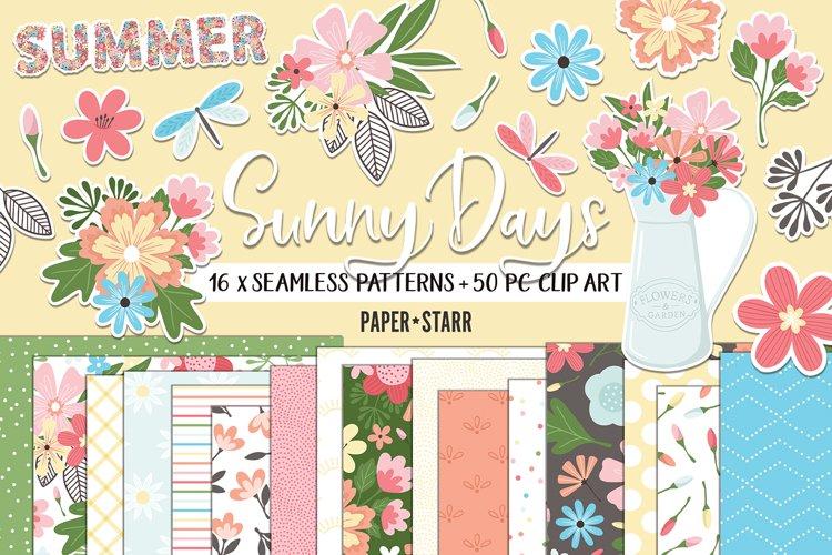 Summer Floral Digital Paper and Clipart Bundle, JPG PNG