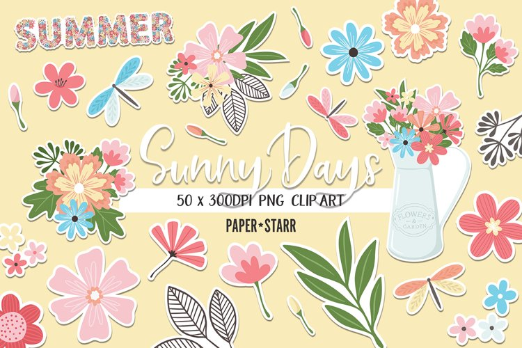 Summer Floral Clipart, Summer Floral Sublimation PNG