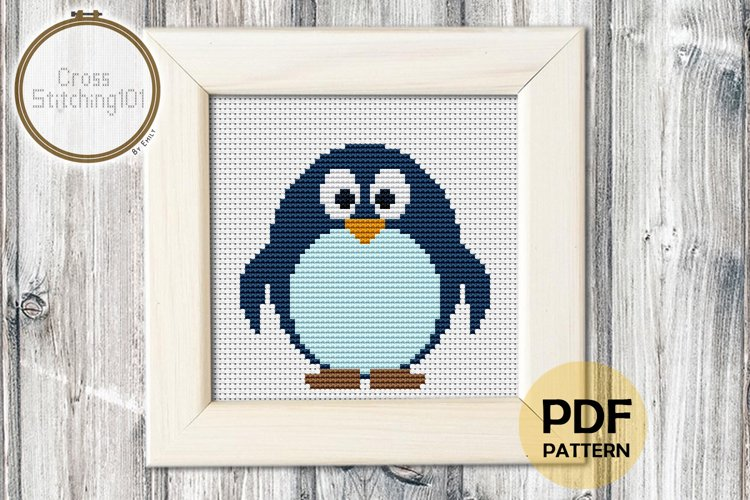 Cartoon Penguin Cross Stitch Pattern - Instant Download PDF example image 1