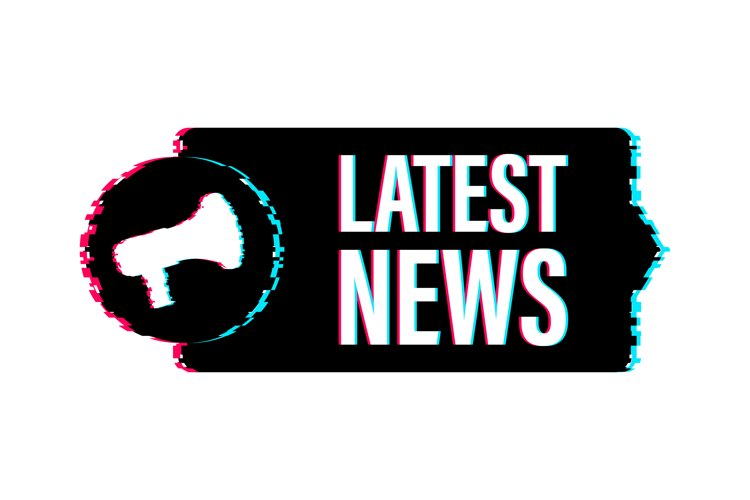 Megaphone label with latest news. Glitch icon. example image 1