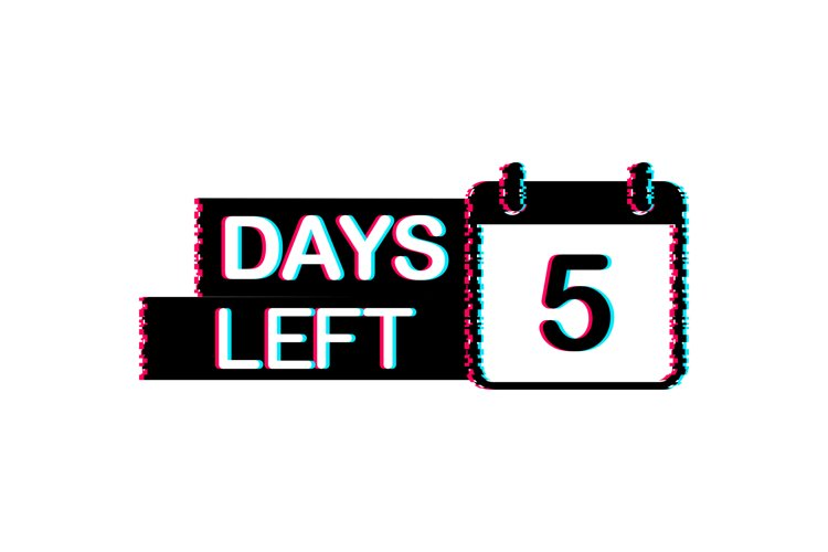 5 Days left. Glitch icon. Time icon. Count time sale. example image 1