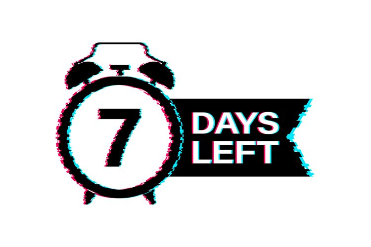 7 Days left. Glitch icon. Time icon. Countdown timer sign. example image 1