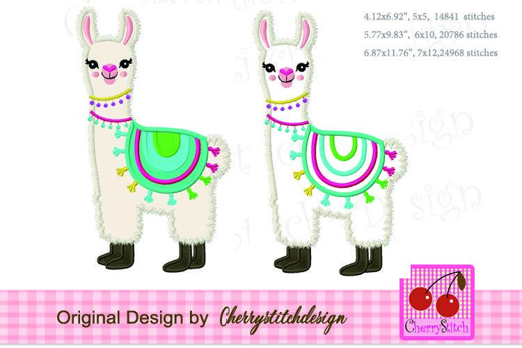 Llama machine embroidery applique design
