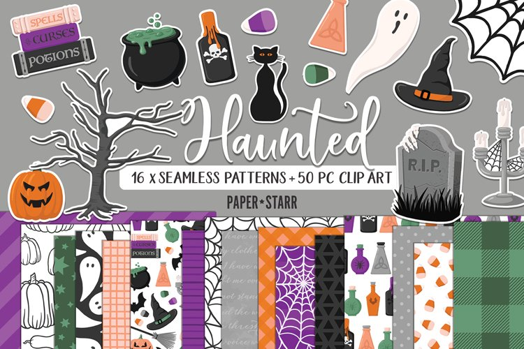 Halloween Digital Paper and Clipart Bundle, JPG PNG
