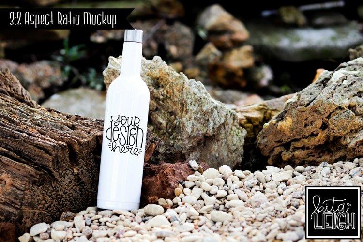 Stainless Steel White Wine Bottle Beach Lake Mockup example image 1