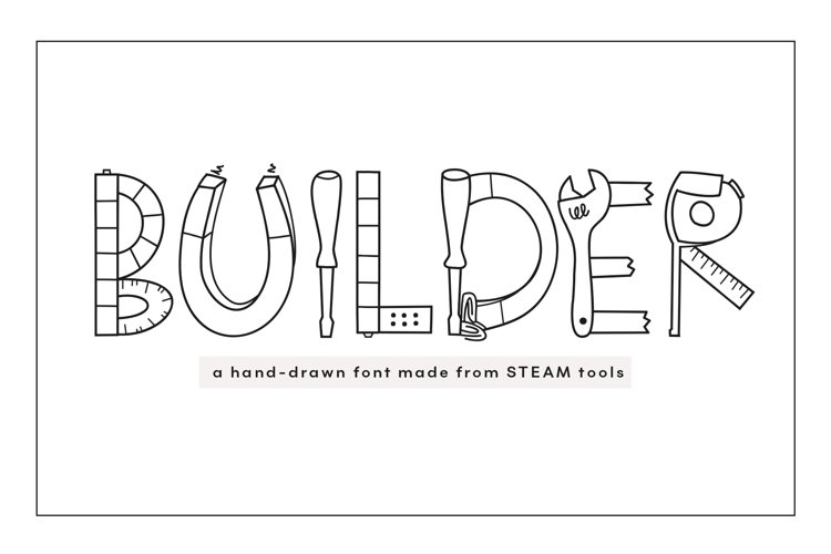 Builder - STEAM Letters Font & Doodles! example image 1