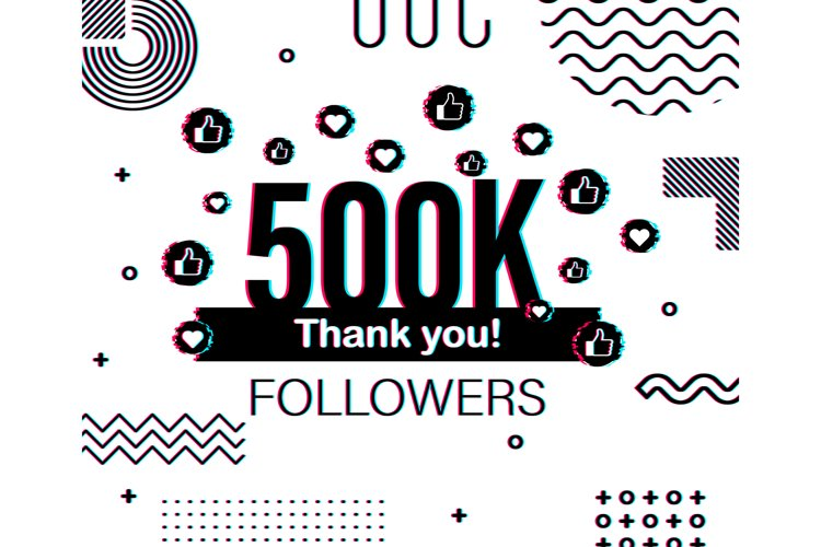 Thank you 500 000 followers numbers. Glitch style banner. example image 1