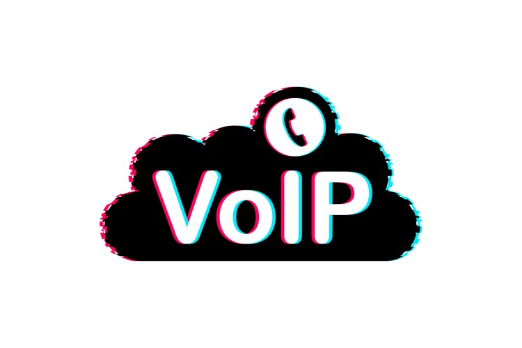 VoIP technology, voice over IP. Glitch icon. Internet callin example image 1