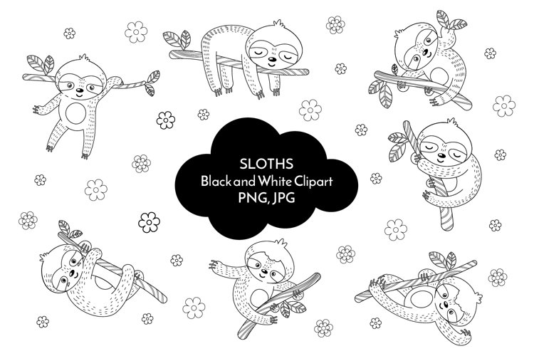 Sloth black and white clipart PNG 36
