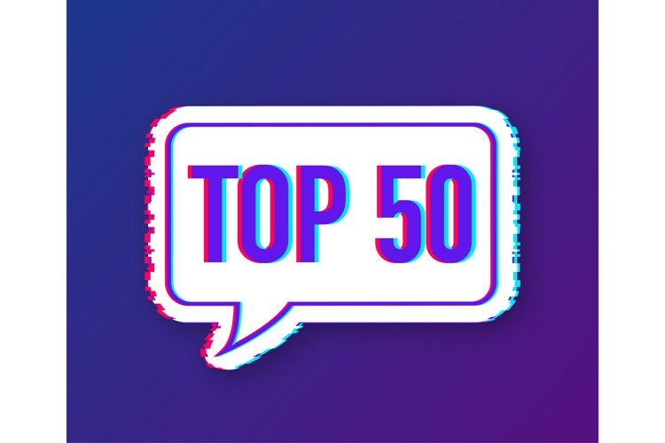 Top 50 - Top fifty vector colorful speech bubble. example image 1