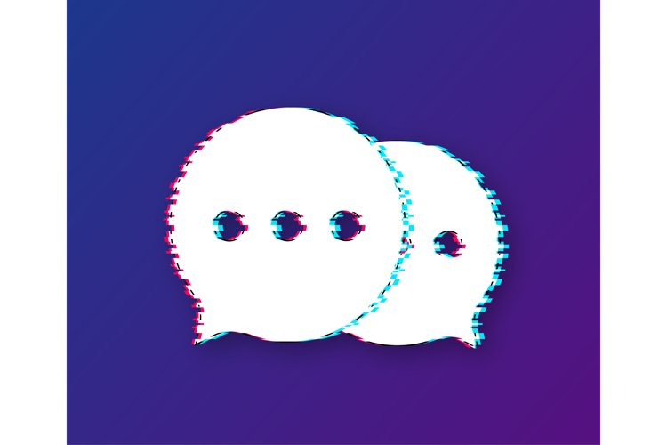 Chat Message Bubbles glitch icon on white background. example image 1