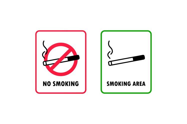 No smoking and smoking area sign. Cigarette icon. Vector EPS