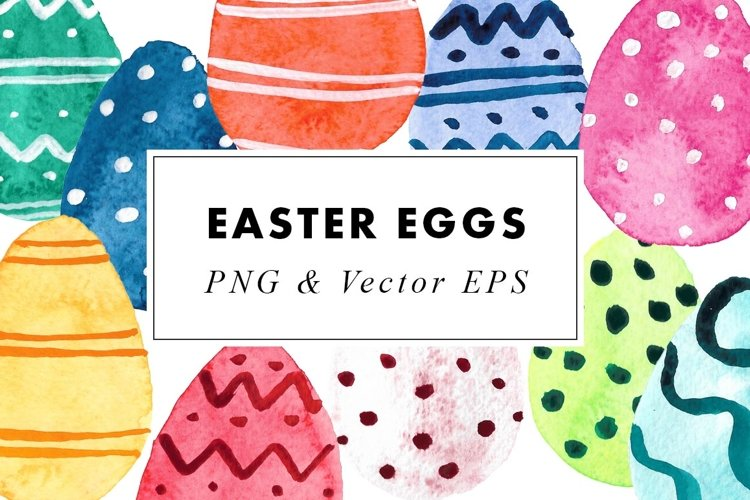 Watercolor Easter Eggs Illustrations Clip Art in EPS