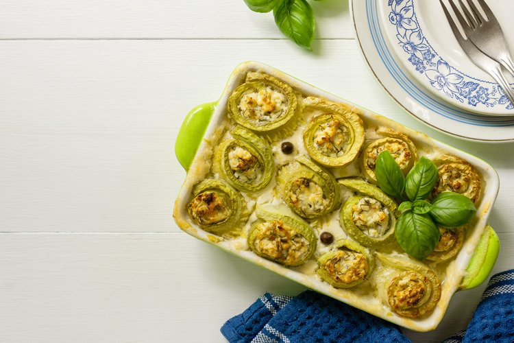 Baked zucchini rolls with cottage cheese example image 1