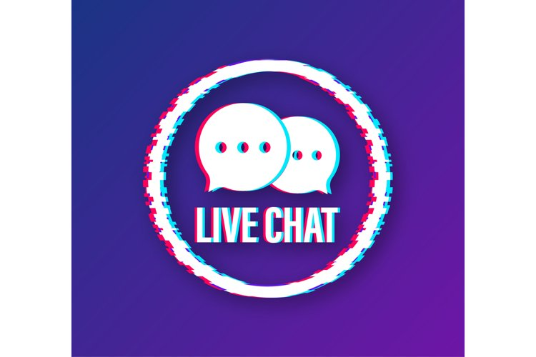 Live chat speech bubbles concept. Glitch icon. Vector stock example image 1