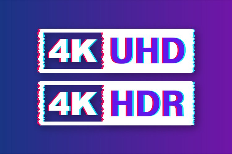 4K Ultra HD label. High technology. Glitch icon. example image 1