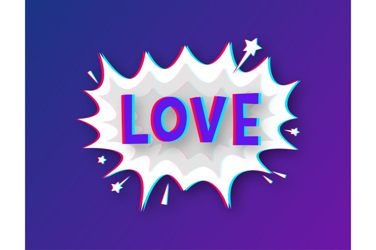 Comic speech bubbles with text Love. Glitch icon. example image 1