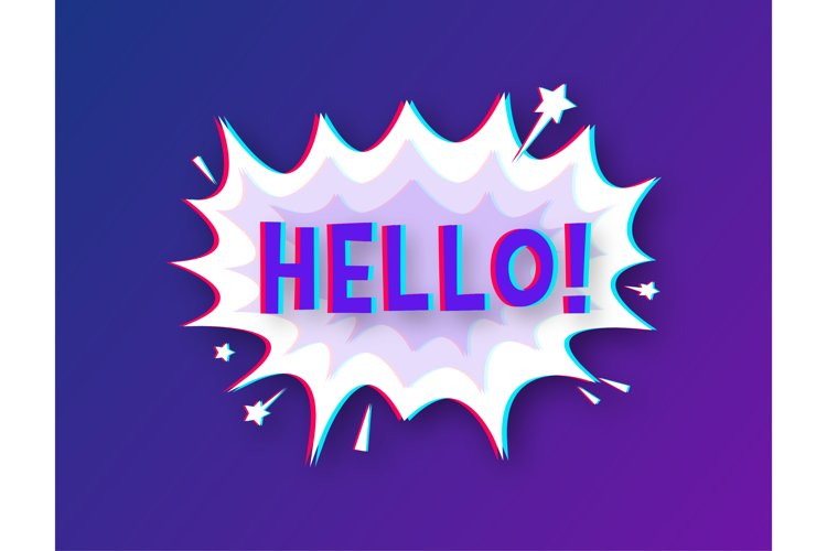 Comic speech bubbles with text Hello. Glitch icon. example image 1