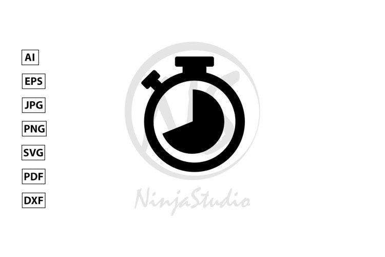 Stopwatch Icon In Flat Style Vector example image 1