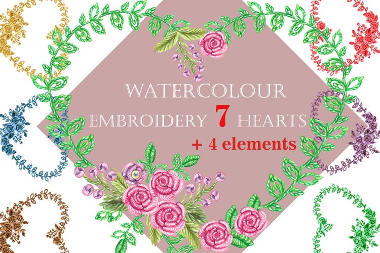 Watercolor Embroidery, 7 of hearts example image 1