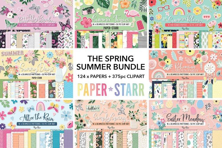HUGE Spring Summer Digital Paper Clipart Bundle