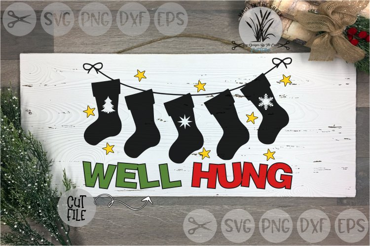 Well Hung, Christmas Stockings, Holidays, Cut File, SVG example image 1