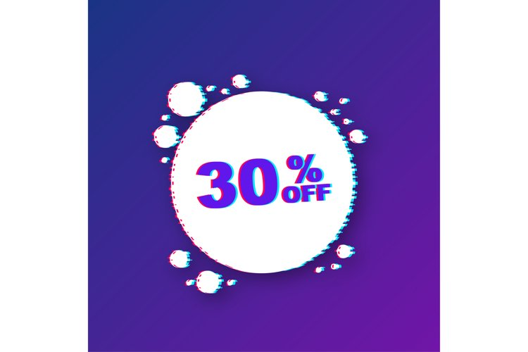 30 percent OFF Sale Discount Banner. Glitch icon. example image 1