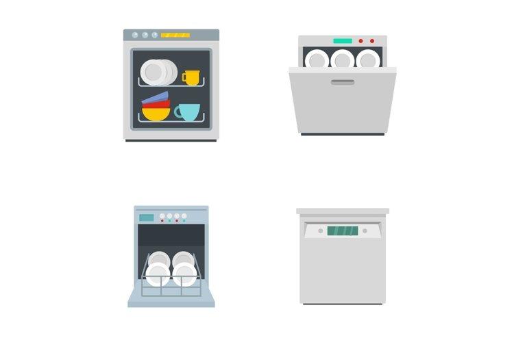 Dishwasher machine kitchen icons set flat style example image 1