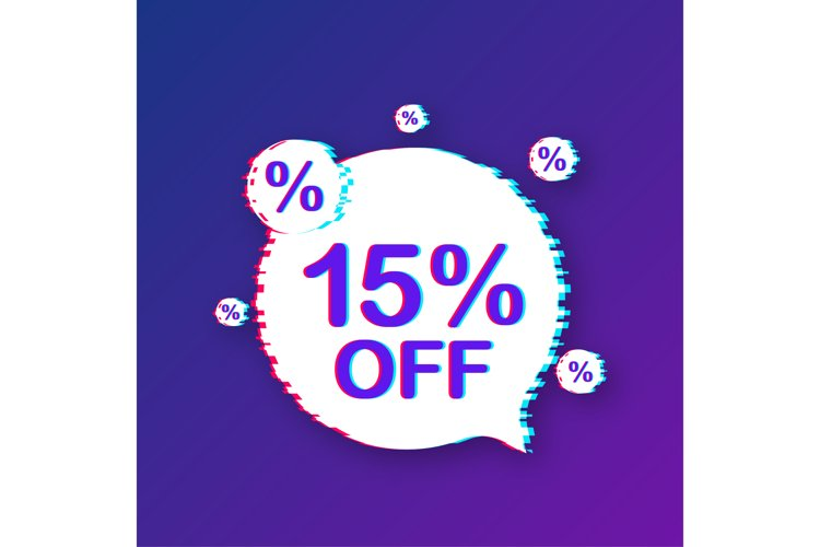 15 percent OFF Sale Discount Banner. Glitch icon. example image 1