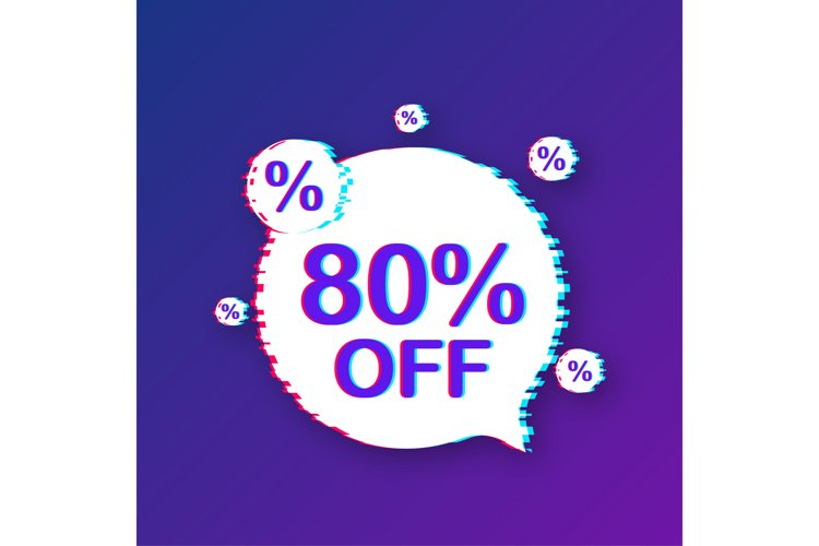 80 percent OFF Sale Discount Banner. Glitch icon. example image 1