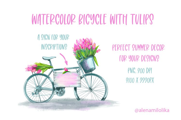 Watercolor bicycle with tulips. Provence, French style