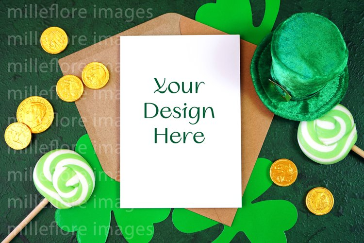 St Patrick's Day Greeting Card Flatlay SVG Craft Mockup JPEG example image 1
