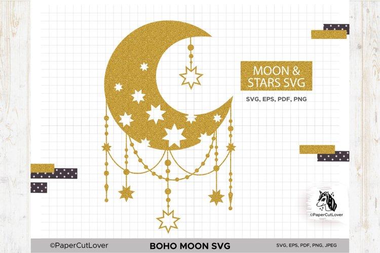 Boho Moon SVG Crescent Moon SVG Half Moon Svg example image 1