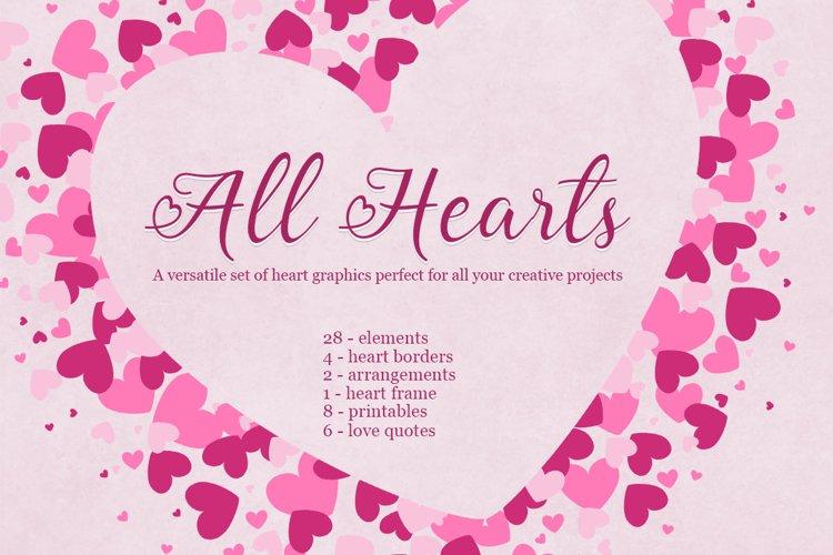All Hearts Clipart Set example image 1