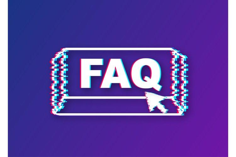Faq with cursor button. Internet glitch icon. Pointer click example image 1