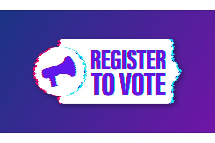 Megaphone banner with Register to vote. Glitch icon. example image 1