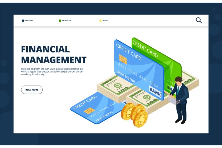 Financial management. Online banking, credit, finance landin example image 1