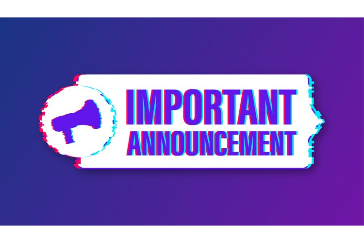 Megaphone with important announcement. Glitch icon example image 1