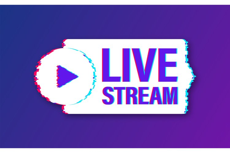 Live stream glitch logo, news and TV or online broadcasting. example image 1